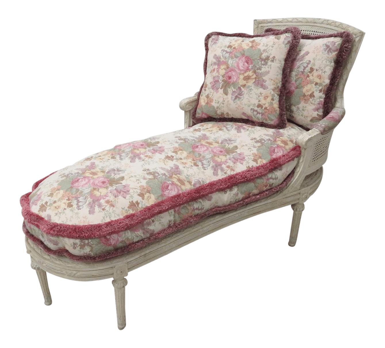 Chaise Style Louis 16 French Louis Xvi Cream Caned Chaise Lounge