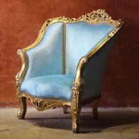 Baby Blue Victorian Style Chair | Chairish