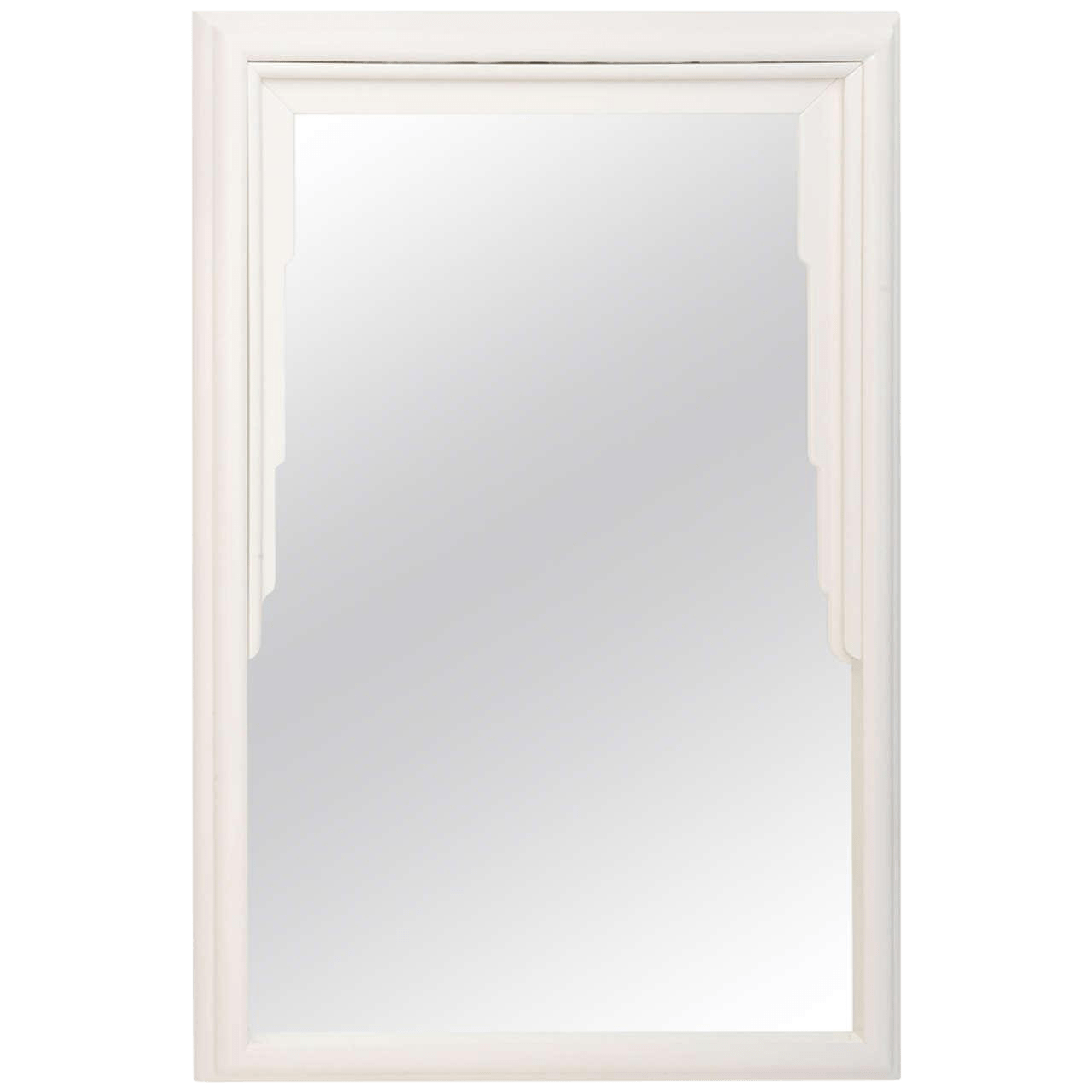 Art Deco Style Mirror Dorothy Draper Hollywood Regency Art Deco Style Mirror In White Lacquer