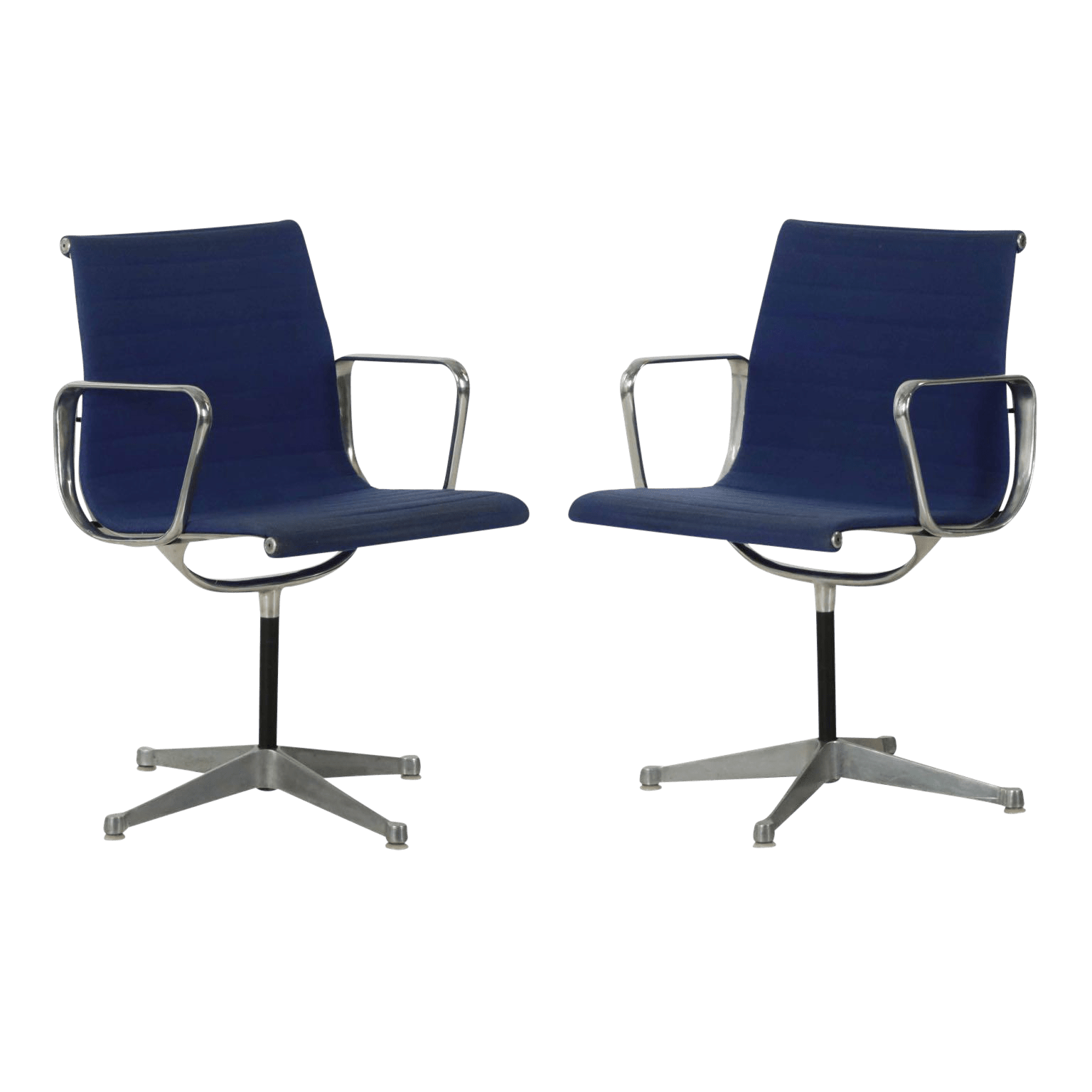 Silla Charles Eames Charles Eames For Herman Miller Blue Swivel Chairs A Pair