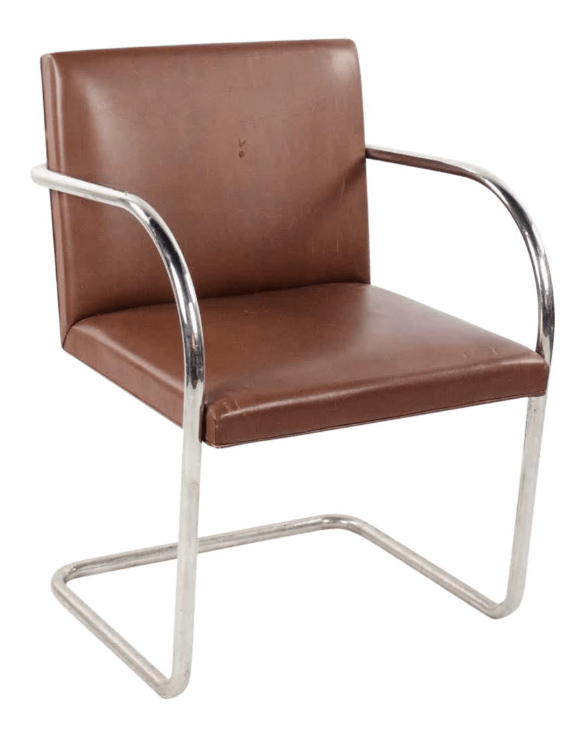 Knoll International 1960s Mid Century Modern Brno Knoll International Tubular Chrome And Naugahyde Arm Chair