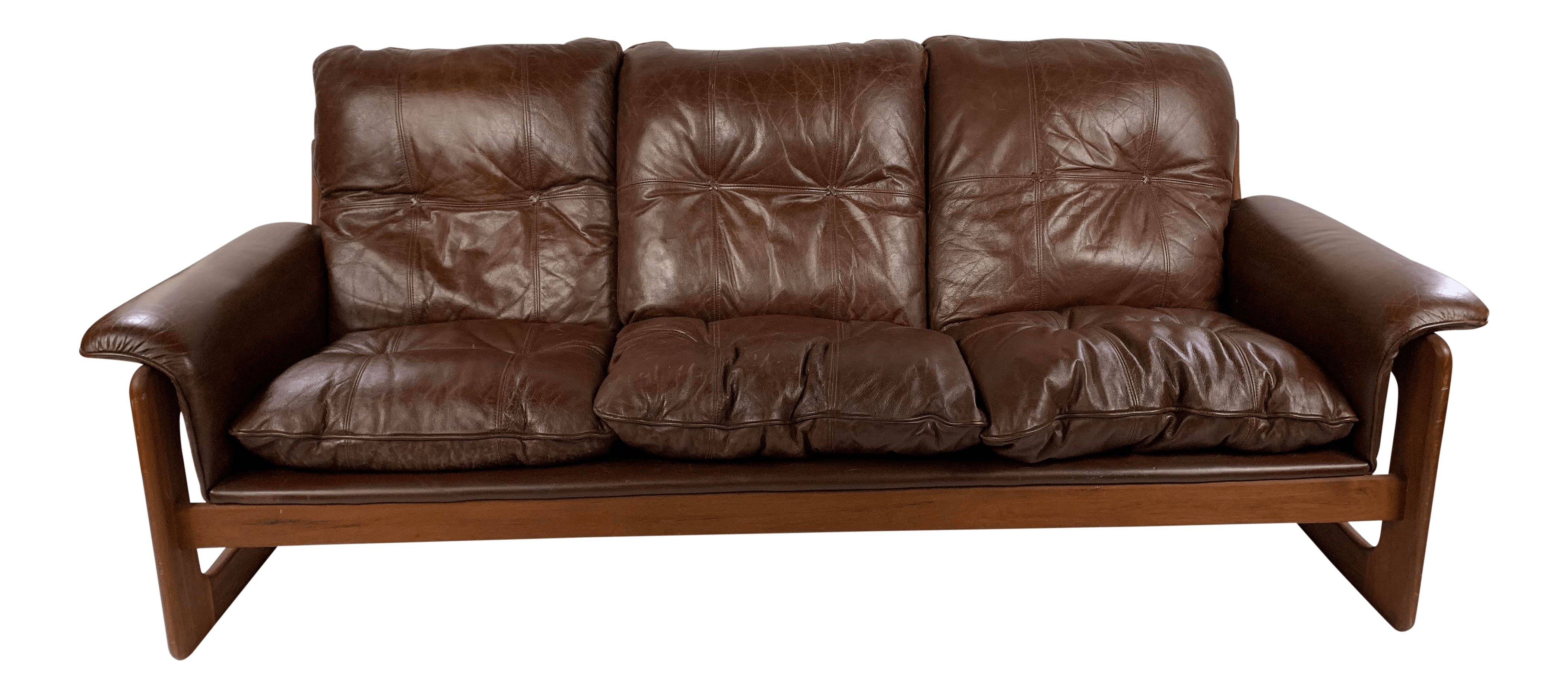 Leather Lounge Mid Century Danish Teak Leather Lounge Sling Couch