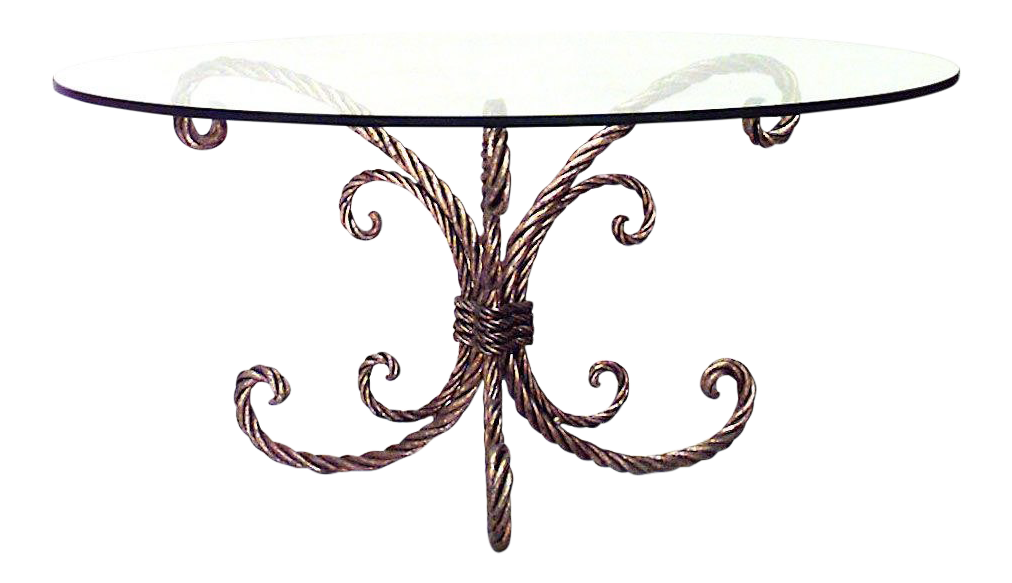 Round Glass Top Coffee Table Art Moderne Rope And Tassel Design Gilt Metal Round Glass Top Coffee Table