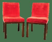 John Widdicomb Mid-Century Modern Red Orange Velvet Side ...