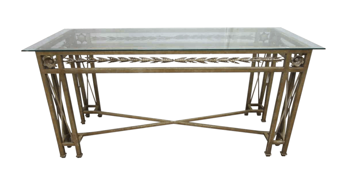 Glass Top Console Table Wrought Iron Glass Top Console Table