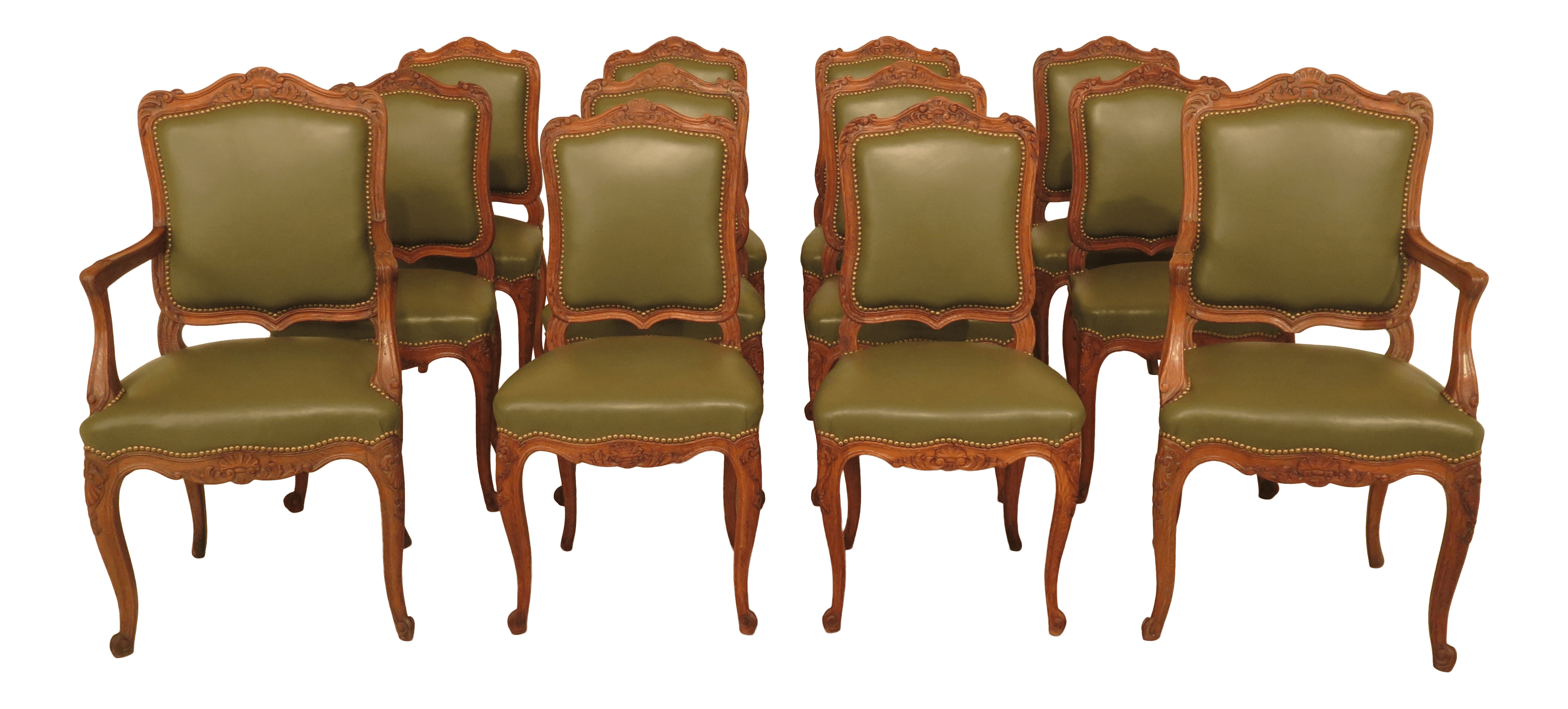 Leather Dining Room Chairs 1930s Vintage French Carved Oak Leather Dining Room Chairs Set Of 12