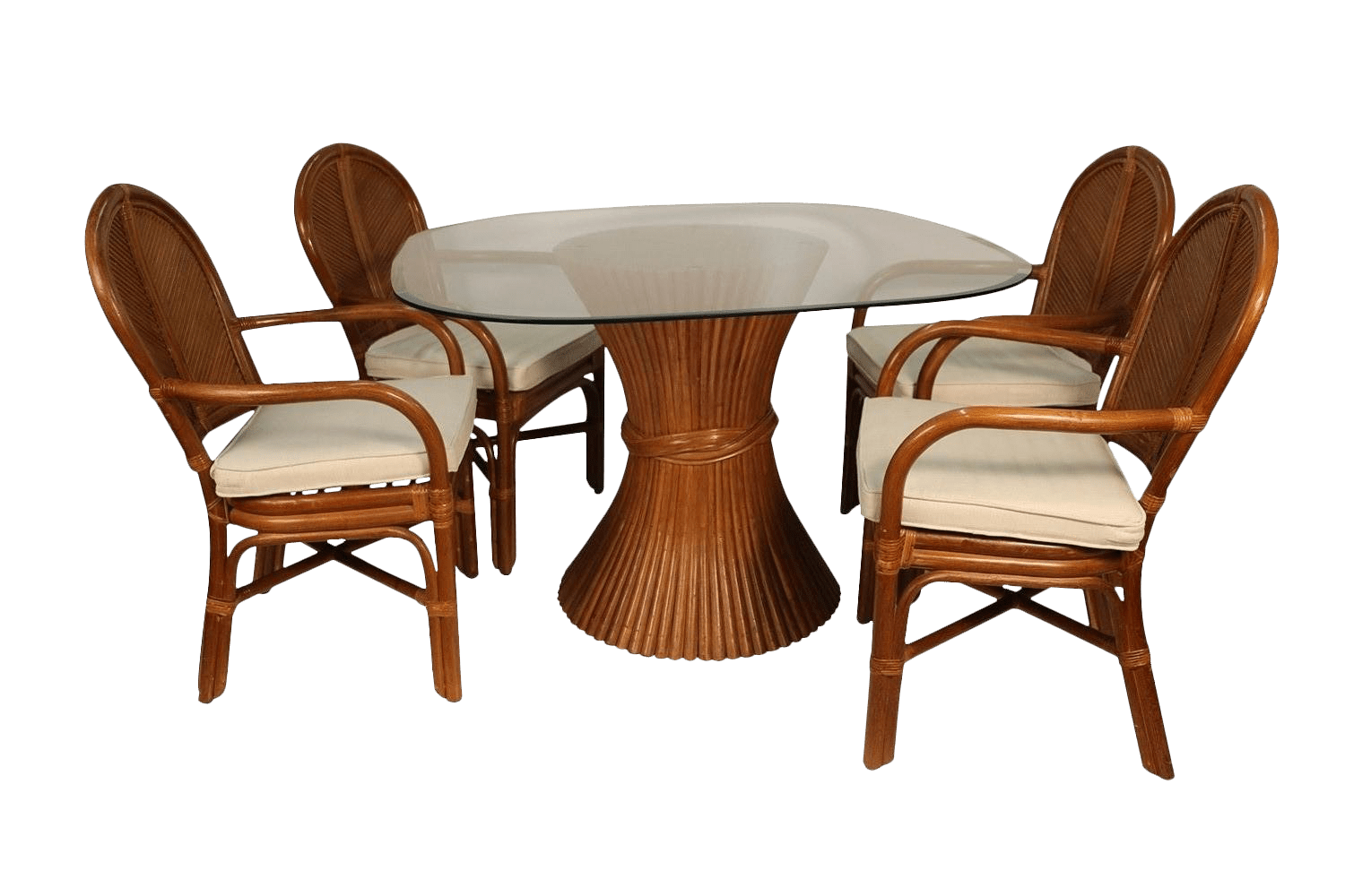 Rattan Table Sheaf Of Wheat Rattan Dining Table And Chairs