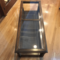 Mid-Century Modern Glass & Hardwood Coffee Table | Chairish