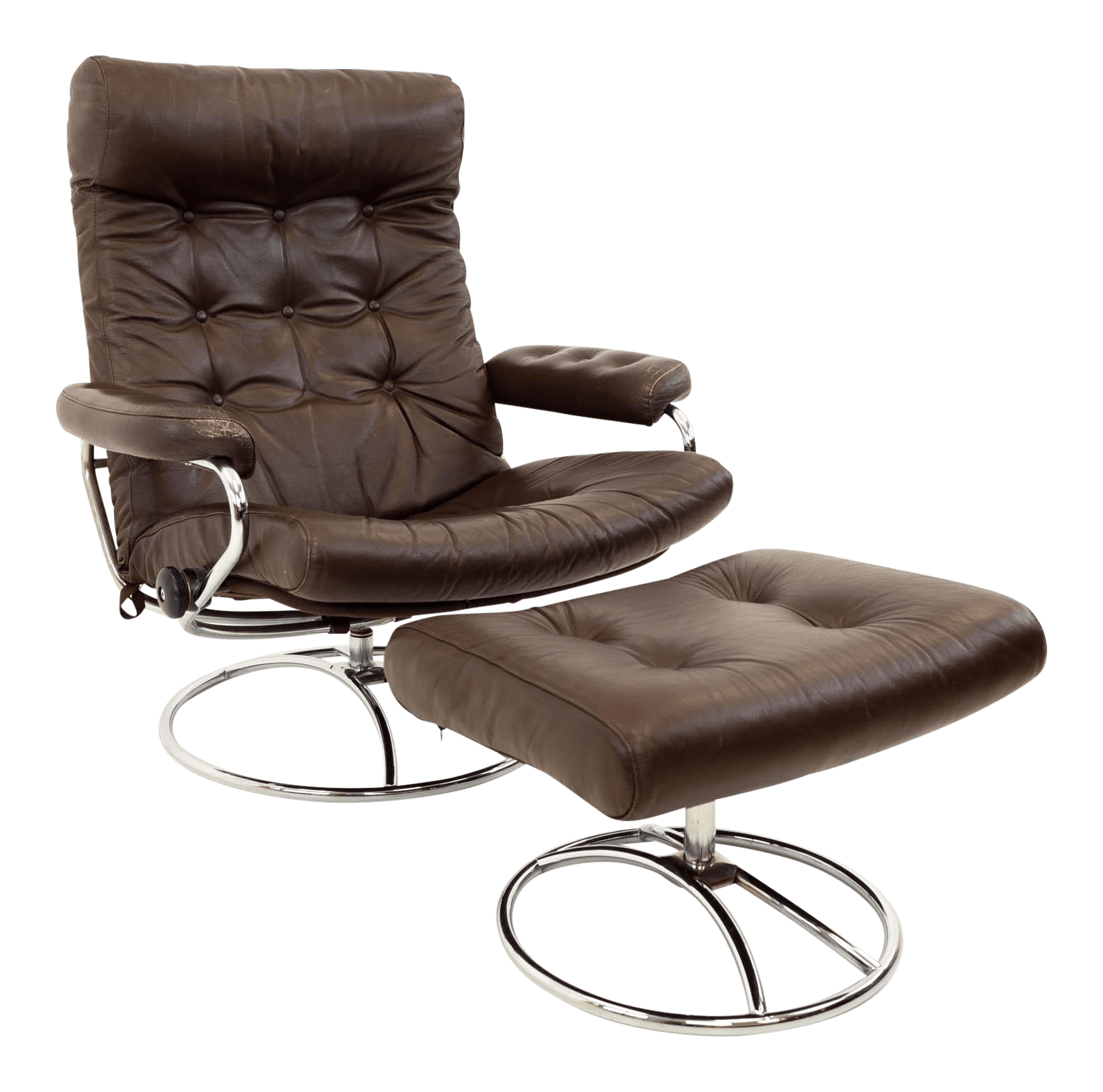 Chair Leather Reclining Swivel Mid Century Modern Ekornes Stressless Reclining Swivel Brown Leather Lounge Chair Ottoman