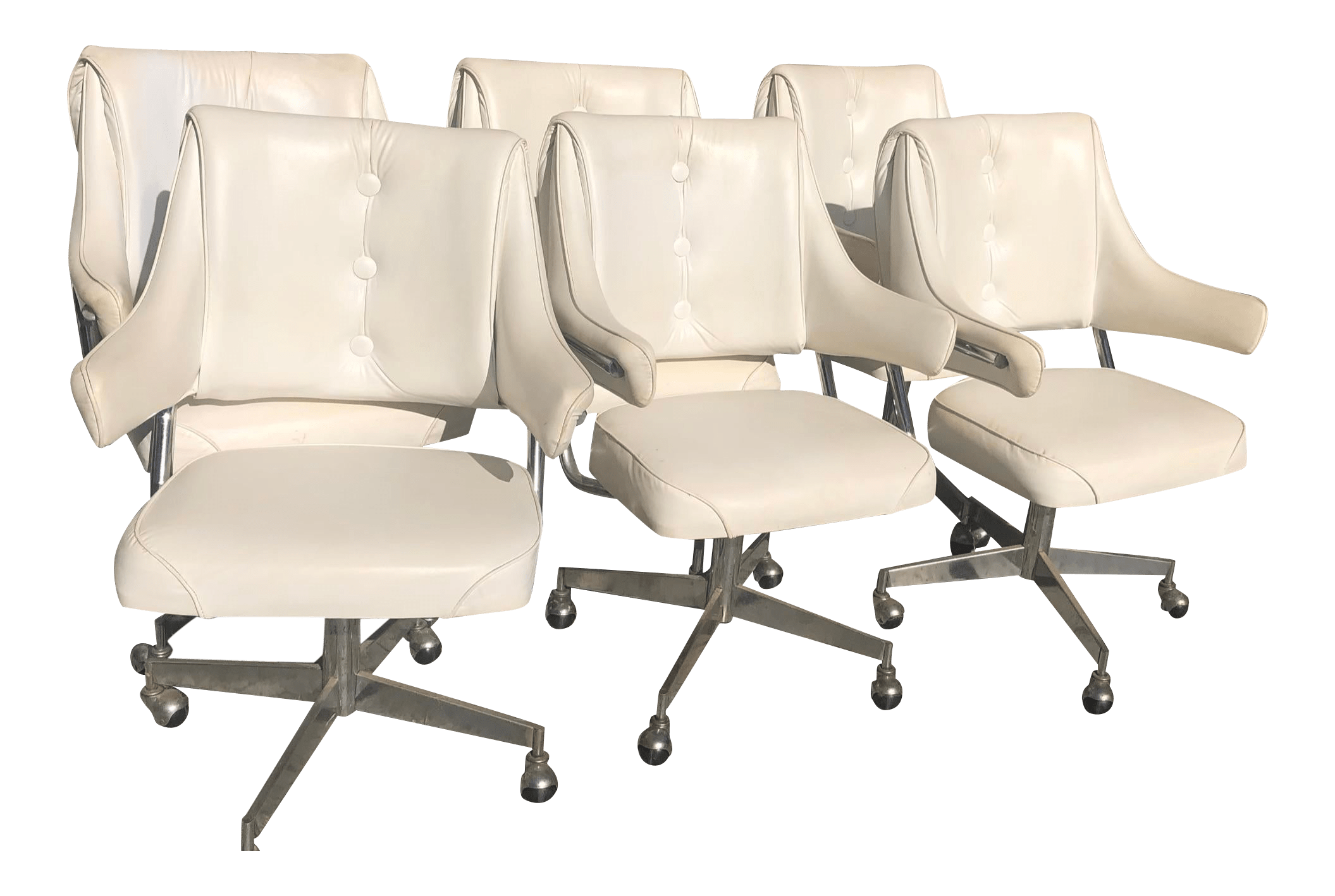 Vintage Mid Century Howell Vinyl Chrome Dinette Or Office Chairs Set Of 6 Chairish