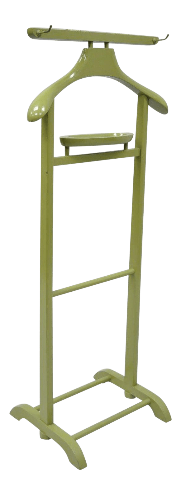 Cloth Hanger Stand Vintage Green Mid Century Modern Wood Clothing Valet Rack Stand Clothes Suit Hanger