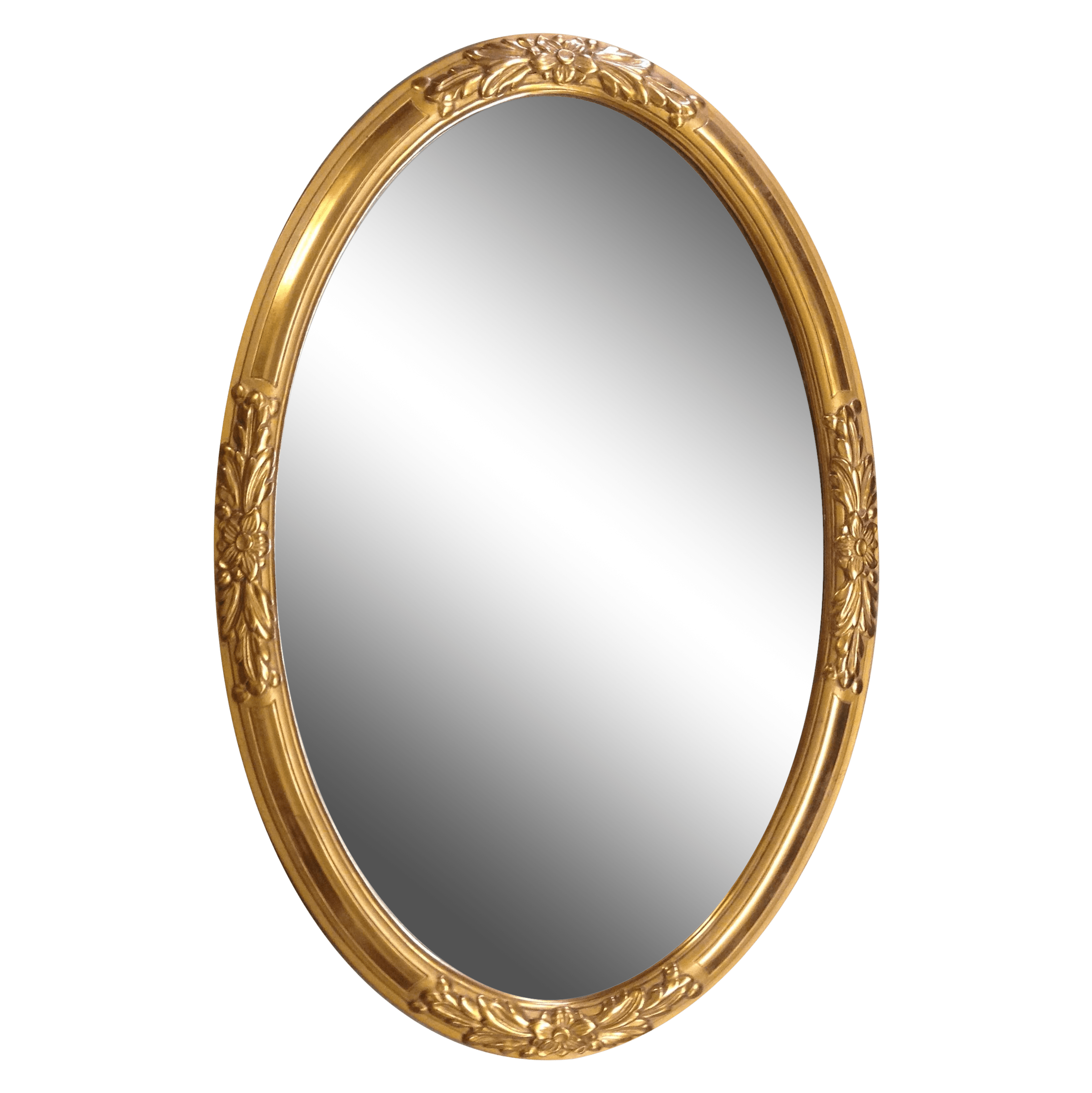 Oval Mirror Wood Frame 1930s French Gold Wood Framed Oval Mirror