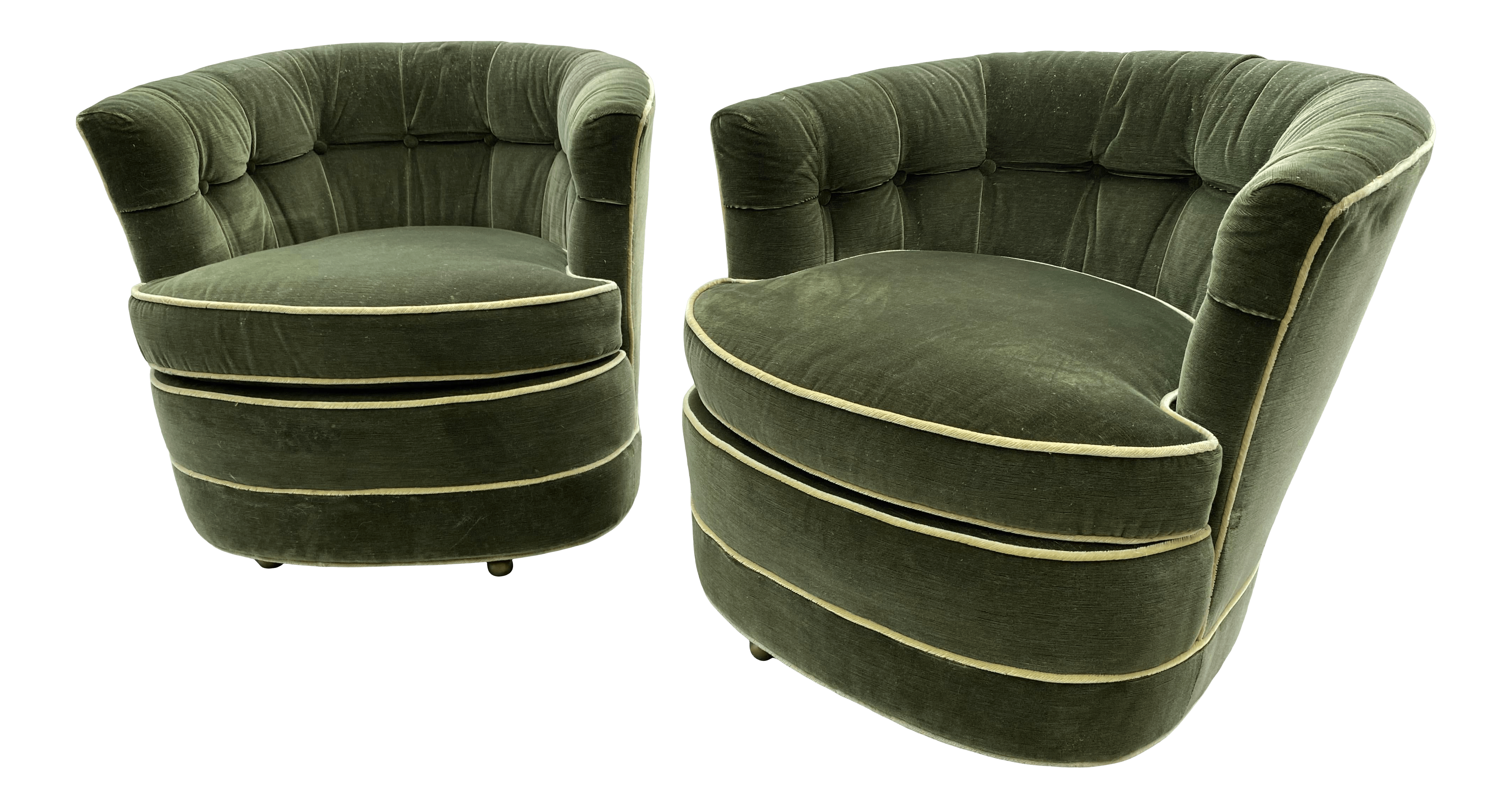 1960s Mid Century Modern Green Velvet Swivel Chairs A Pair Chairish