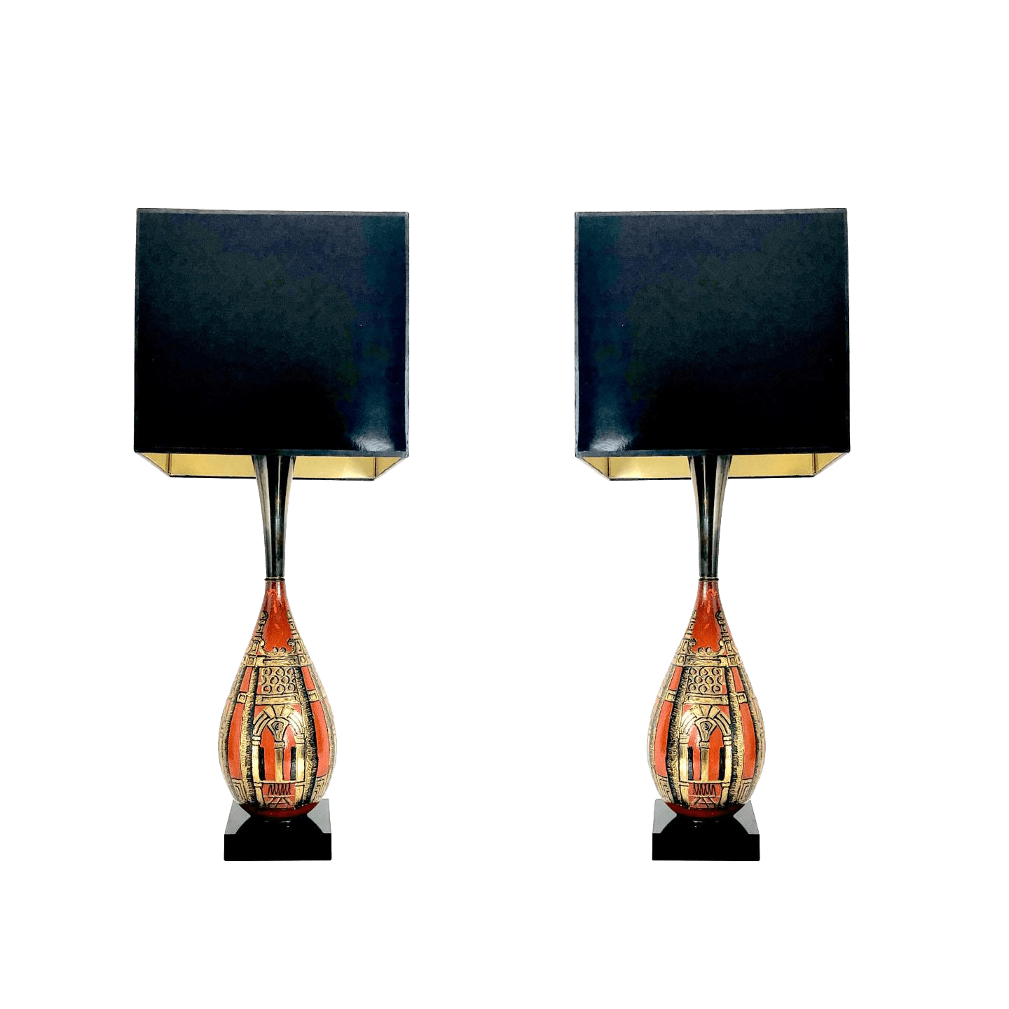 Asian Table Lamp Pair Of Gourd Asian Table Lamps