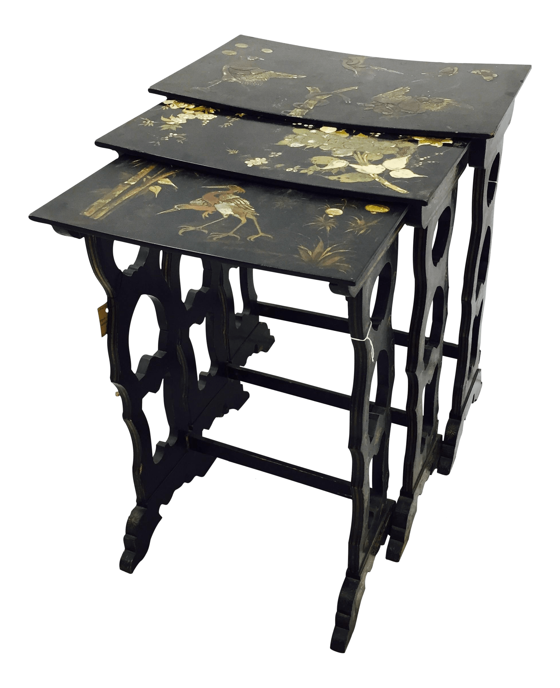 Asian Nesting Tables Antique Asian Lacquered Nesting Tables 3 Chairish