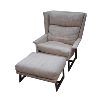 Mid Century Modern Wing Lounge Chair with Ottoman | Chairish