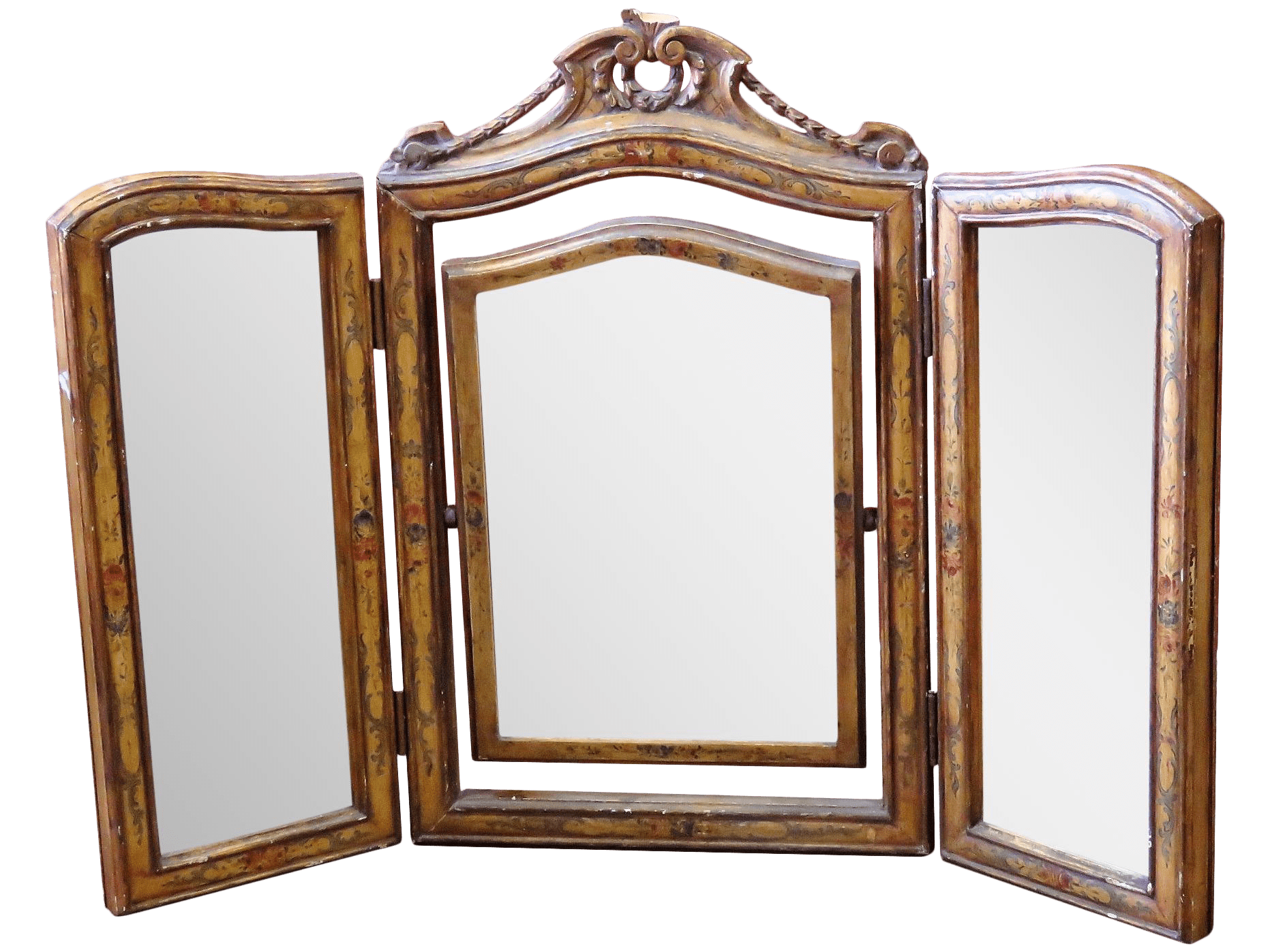 3 Panel Make Up Mirror French Style 3 Panel Carved Vanity Mirror Chairish