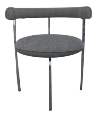 Vintage Chrome Barrel Chair with New Grey Upholstery ...