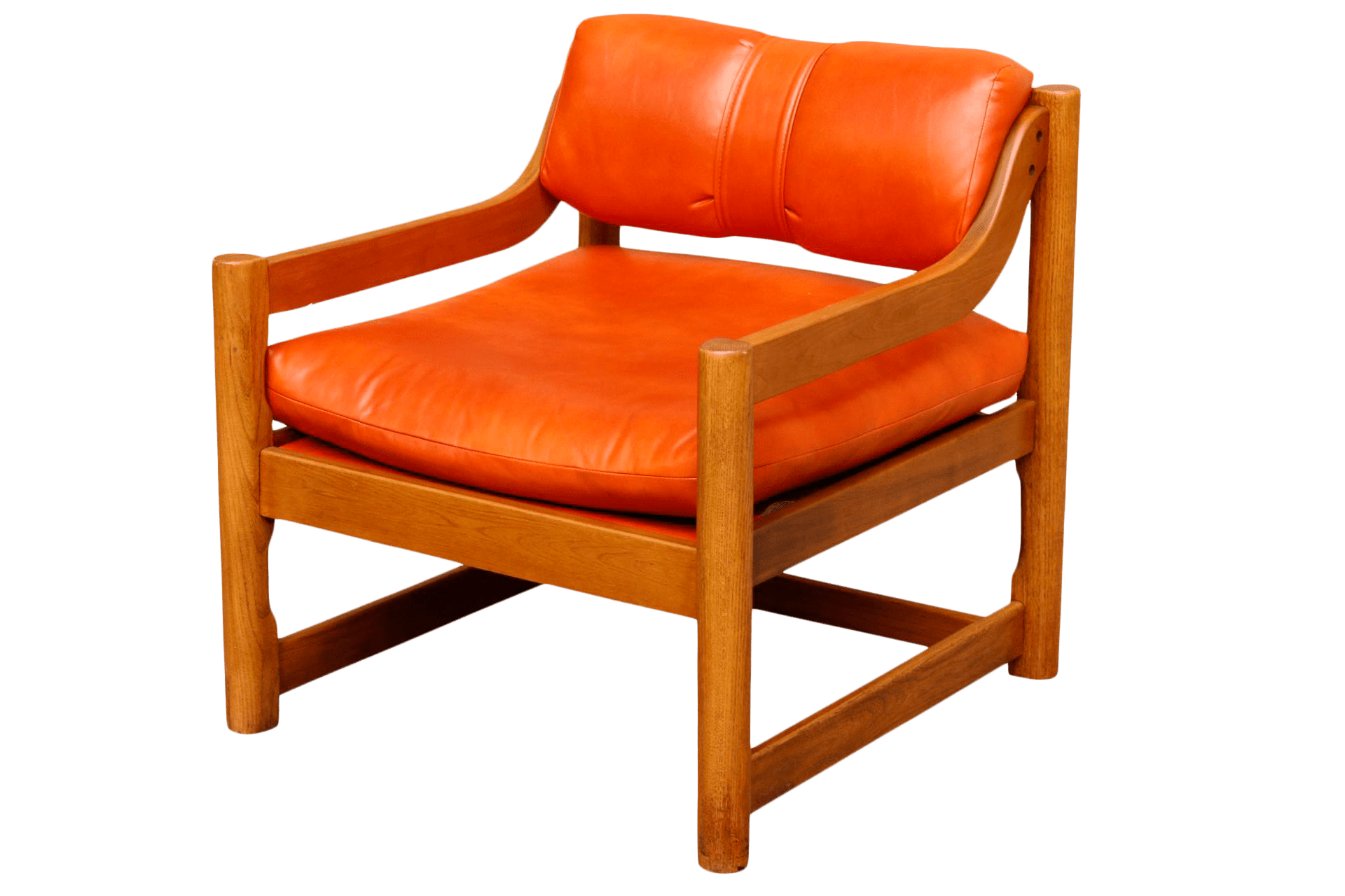 Orange Leather Chair Mid Century Orange Leather Chair By Paoli Chair Company