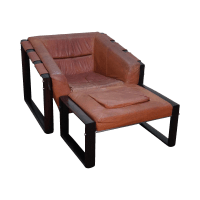 Mid-Century Modern Percival Lafer Rosewood Frame Leather ...