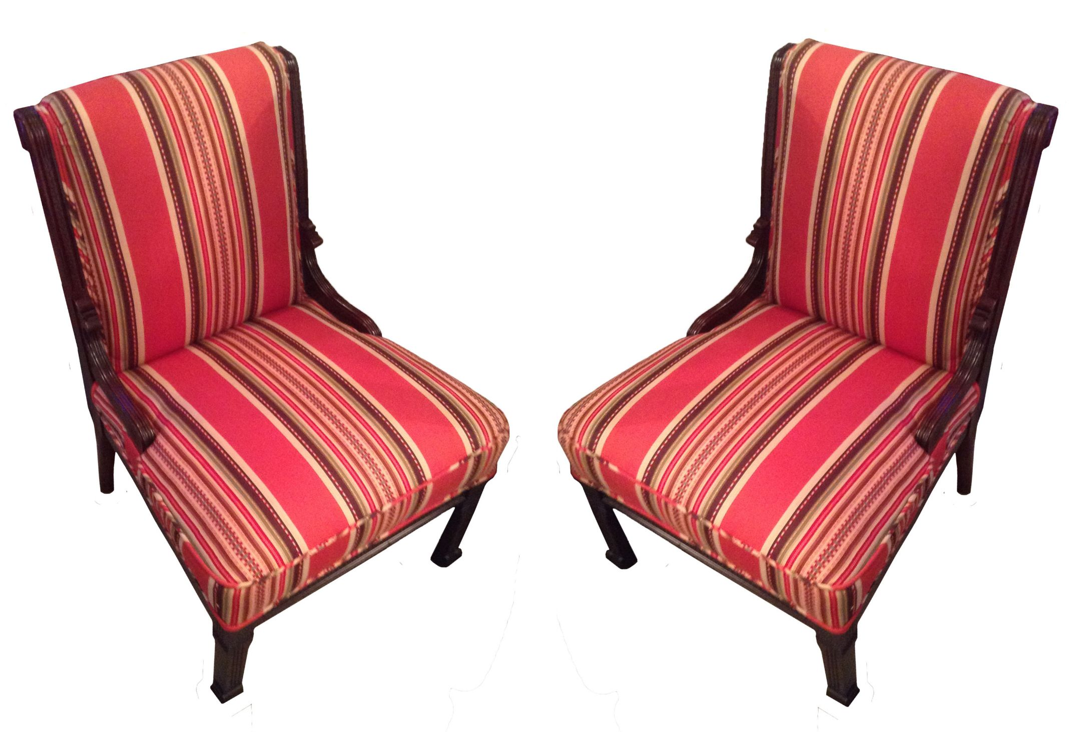 Red Striped Chair Red Striped Eastlake Slipper Chairs A Pair Chairish