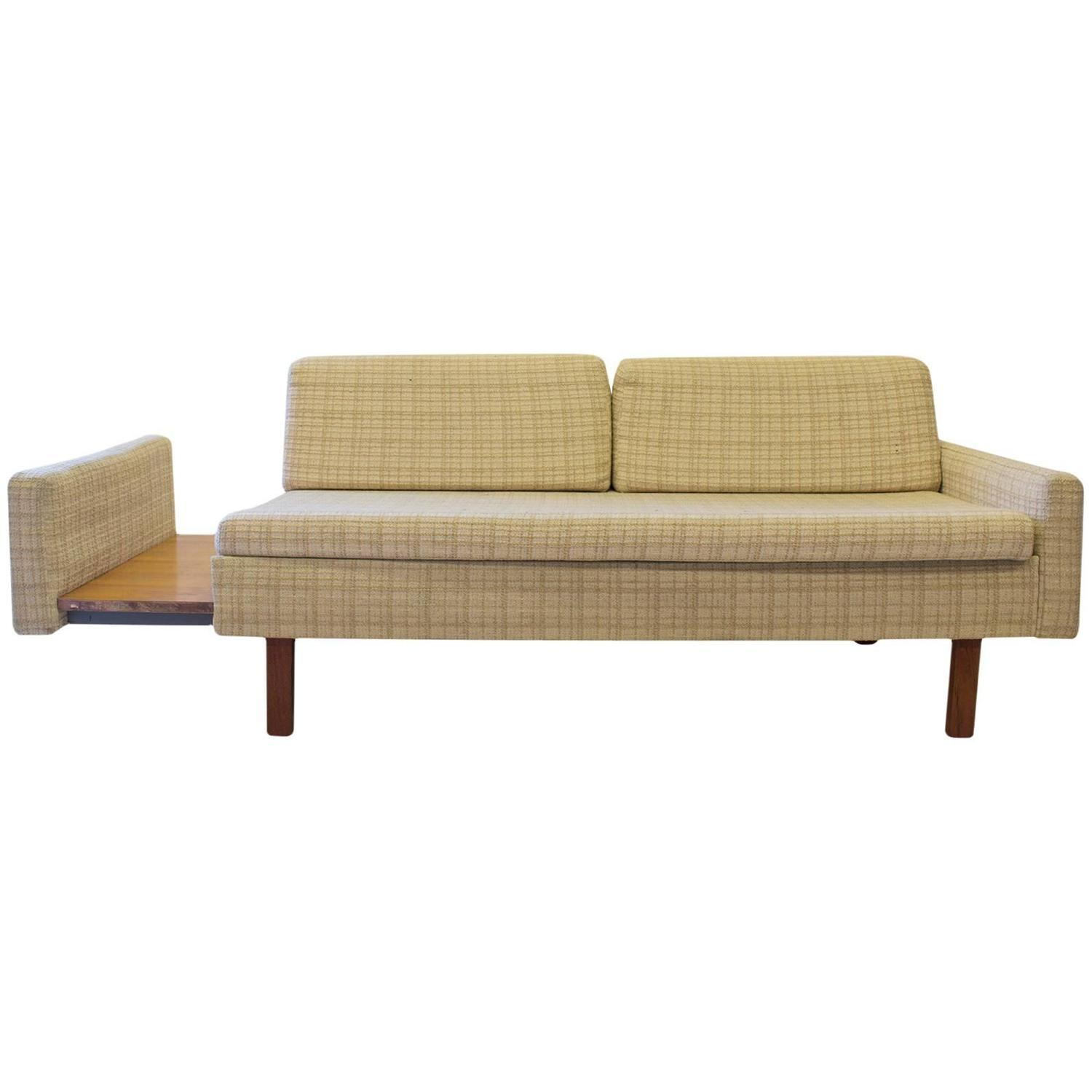 Table Retractable Console Mid Century Loveseat With Retractable Side Table Chairish