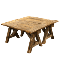 French Rustic Coffee Table on Sawhorse Legs | Chairish