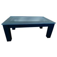 Navy Blue Glass Top Coffee Table | Chairish