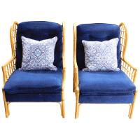Vintage Bauhaus Rattan Wing Chairs - Pair   Chairish
