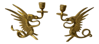 Brass Dragon Candle Holders - A Pair | Chairish