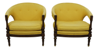 Vintage yellow upholstered chairs | Chairish