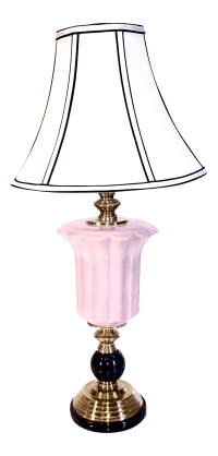 Brass & Black Marble Mounted Pink Ceramic Table Lamp ...