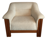 Mid Century Modern White Upholstered Teak Club Chair ...