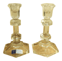 Firenza Pattern 24% Lead Crystal Candle Holders - A Pair ...