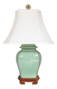 Celadon Green Ginger Jar Chinoiserie Accent Lamp with ...