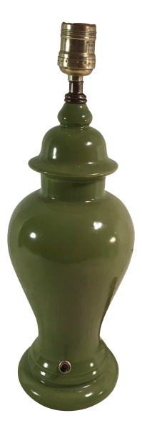 Vintage Green Ginger Jar Shaped Table Lamp | Chairish