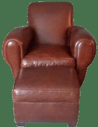 Restoration Hardware Leather Chair & Ottoman | Chairish