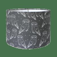 Owls Print Charcoal Drum Lamp Shade | Chairish