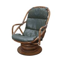 Vintage Rattan Bamboo Swivel Lounge Chair | Chairish