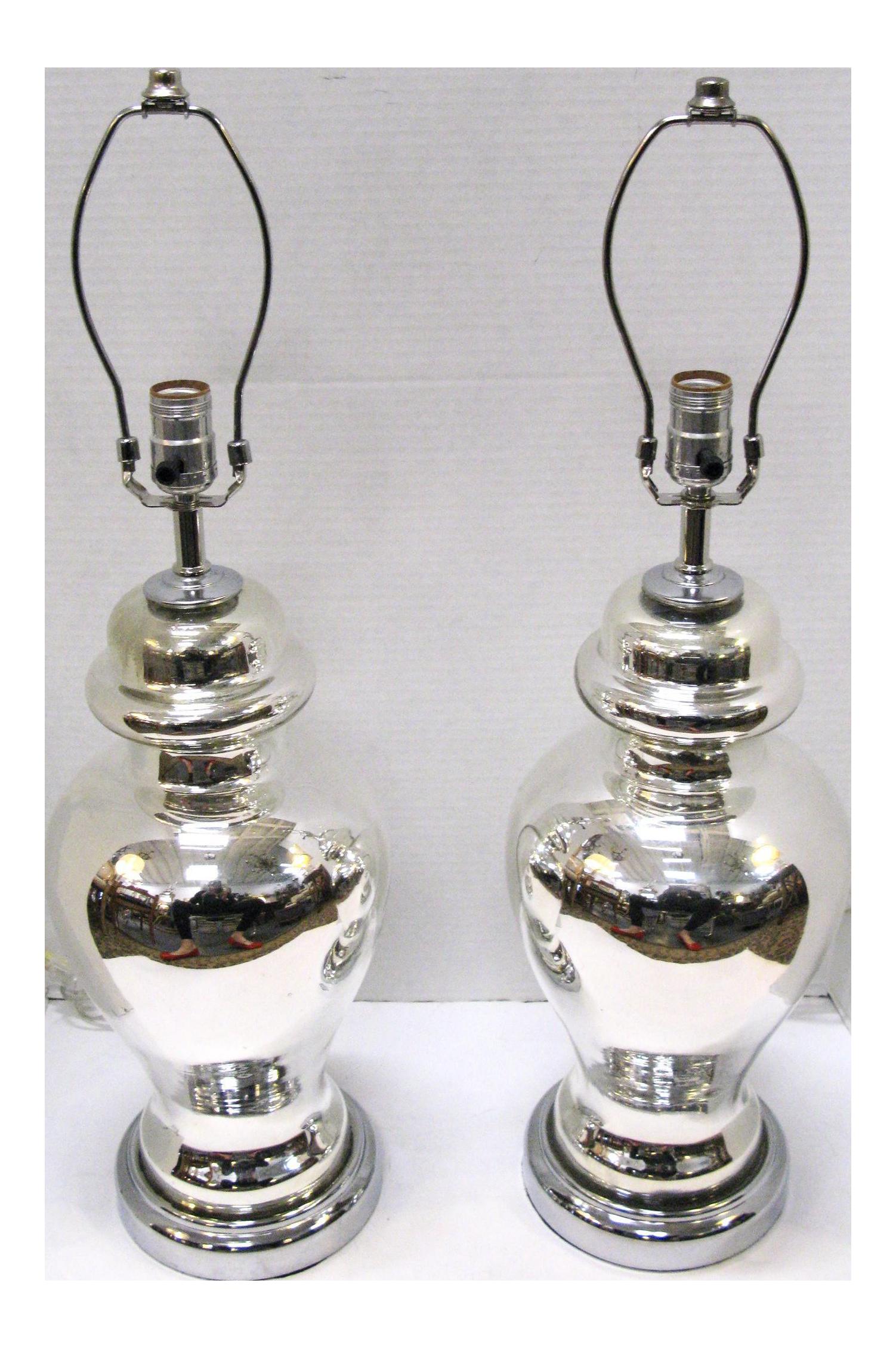Hand Blown Mercury Glass Ginger Jar Lamps