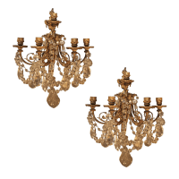 Antique French Bronze & Crystal Sconces - a Pair | Chairish