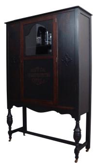 Antique Ebonized Wood Lock Liquor Cabinet | Chairish