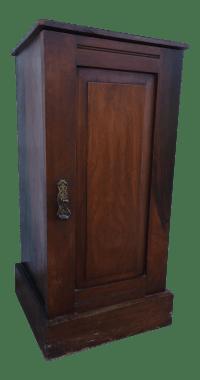 Mahogany Storage Cabinet W/ Brass Pull | Chairish