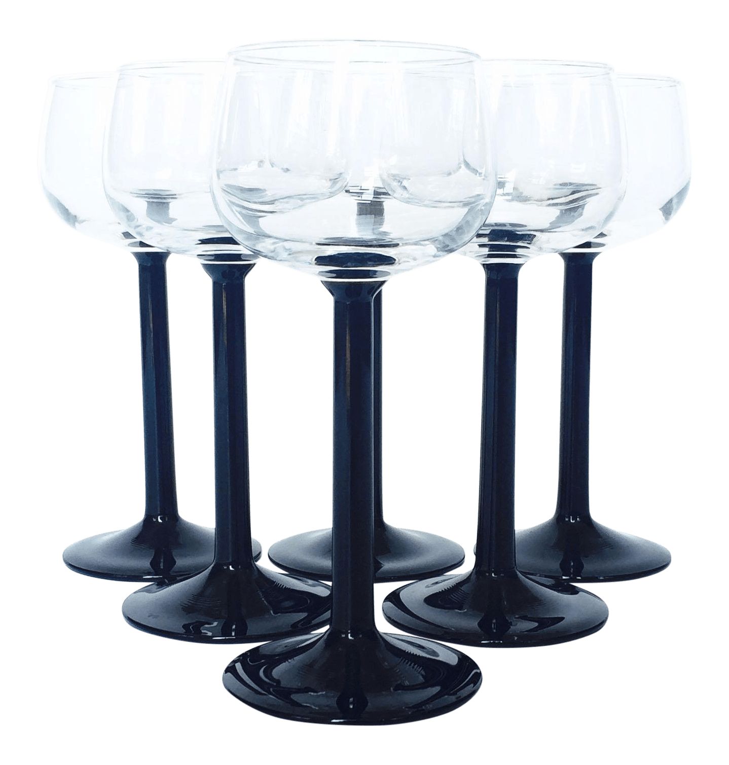 Wine Glasses With Black Stems Vintage Luminarc Black Stemmed Wine Glasses Set Of 6