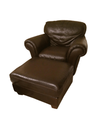 Natuzzi Italsofa Leather Chair and Ottoman Set | Chairish