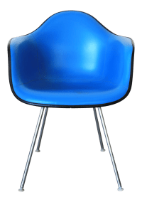 Blue Naugahyde Chair by Eames for Herman Miller | Chairish
