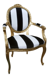 Antique Louis XVI Chair in Gold Leaf with Black and White ...