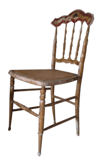 Old Distressed Cane Chair | Chairish