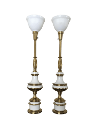 Hollywood Regency Stiffel Torchiere Lamps - Pair | Chairish