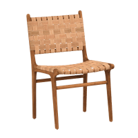 Woven Leather Dining Chair | Chairish